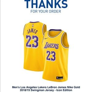 Men's LA Lakers LeBron James Nike Gold Jersey